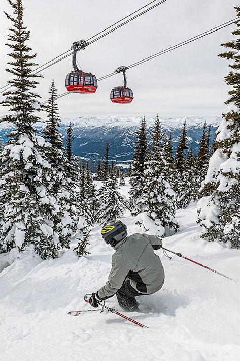 whistler Blackcomb, Peak 2 Peak Gondola, skiing.